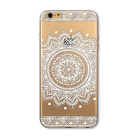 iPhone 8 Indian Mandala Gummi TPU Silikon Case Hülle TRANSPARENT WEISS – Bild 1