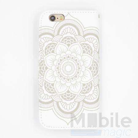 iPhone 6S / 6 Mandala Henna Leder Etui Tasche Hülle Portemonnaie WEISS – Bild 2