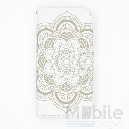 iPhone 6S / 6 Mandala Henna Leder Etui Tasche Hülle Portemonnaie WEISS – Bild 1
