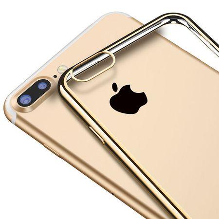 iPhone 8 Metallic Gummi TPU Silikon Case Hülle Schutzhülle Cover Klar GOLD – Bild 3