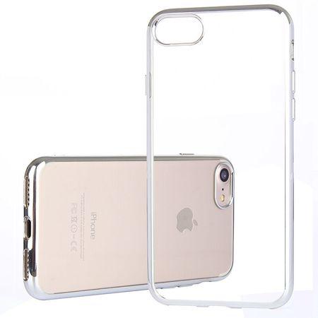 iPhone 8 Metallic Gummi TPU Silikon Case Hülle Schutzhülle Cover Klar SILBER