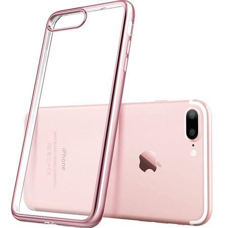iPhone 8 Metallic Gummi TPU Silikon Case Hülle Schutzhülle Cover Klar ROSÉGOLD – Bild 2