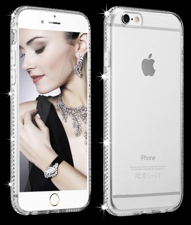 iPhone 8 TPU Gummi Hülle Klar Silikon Crystal Clear Case Glitzer Strass TRANSPARENT – Bild 1