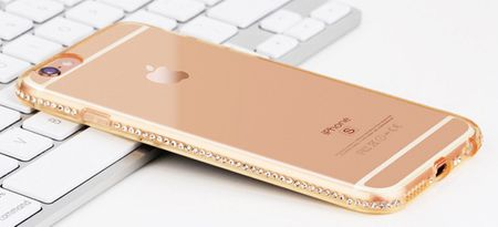 iPhone 8 TPU Gummi Hülle Klar Silikon Crystal Clear Case Glitzer Strass GOLD – Bild 4