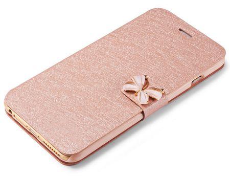 iPhone 8 Leder Flip Etui Tasche Glitzer Hülle Stoff Look Schleife Case PINK / ROSA Roségold – Bild 1