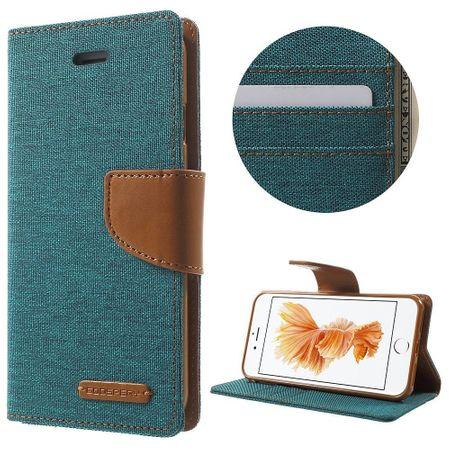 iPhone 8 Mercury Goospery Canvas Stoff Leder Etui Case mit Kartenfach Flip Tasche Hülle GRÜN / TÜRKIS – Bild 2