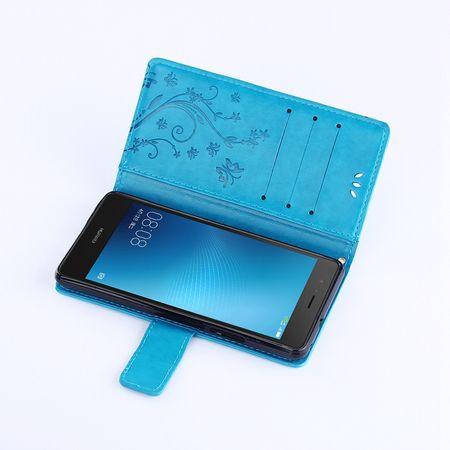 Huawei Mate 10 Leder Etui Blume Schmetterling Hülle Flip Case Cover BLAU / TÜRKIS – Bild 6