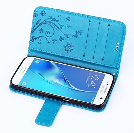 Samsung Galaxy Note 8 Leder Etui Blume Schmetterling Hülle Flip Case Cover BLAU / TÜRKIS – Bild 6