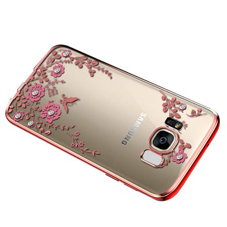Samsung Galaxy Note 8 Glitzer Blumen Hülle TPU Silikon Case PINK Roségold