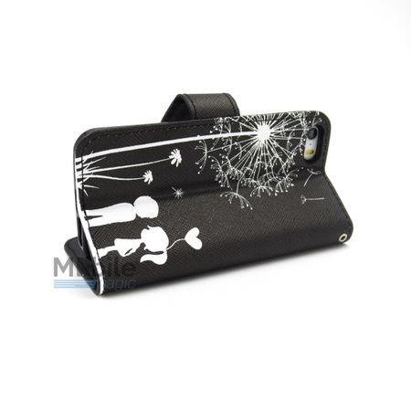 iPhone 6S Plus / 6 Plus Pusteblume Junge & Mädchen Leder Etui Tasche Hülle Portemonnaie SCHWARZ – Bild 5