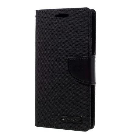 Samsung Galaxy Note 8 Mercury Goospery Canvas Stoff Leder Etui Case mit Kartenfach Flip Tasche Hülle SCHWARZ – Bild 6