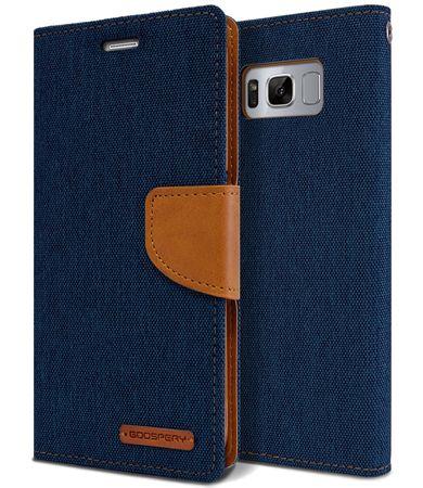 Samsung Galaxy Note 8 Mercury Goospery Canvas Stoff Leder Etui Case mit Kartenfach Flip Tasche Hülle BLAU / DUNKELBLAU – Bild 1