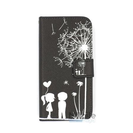 iPhone 6S / 6 Pusteblume Junge & Mädchen Leder Etui Tasche Hülle Portemonnaie SCHWARZ – Bild 1