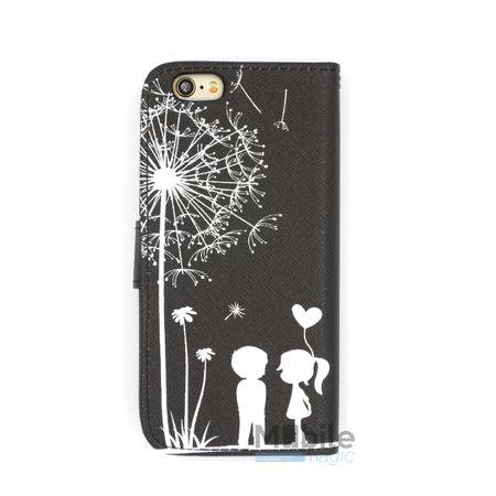 iPhone 6S / 6 Pusteblume Junge & Mädchen Leder Etui Tasche Hülle Portemonnaie SCHWARZ – Bild 2