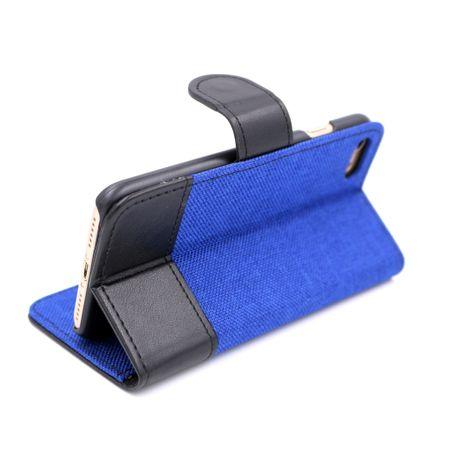 Google Pixel 2 Stoff Leder Hülle Etui Flipcase Cover Case Tasche Canvas Kartenfach BLAU – Bild 3