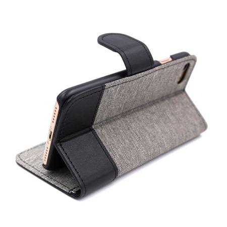 Google Pixel 2 Stoff Leder Hülle Etui Flipcase Cover Case Tasche Canvas Kartenfach GRAU – Bild 3