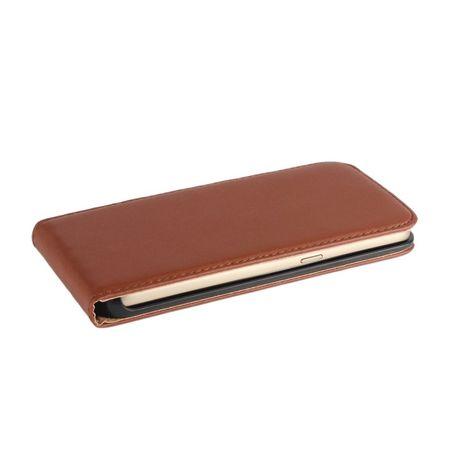 Wiko Jerry Leder Flip Case Cover Etui Tasche Vertikal Hülle BRAUN – Bild 3