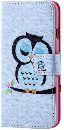 iPhone 6S Plus / 6 Plus Eule Leder Etui Owl Tasche Hülle Portemonnaie BLAU / PINK – Bild 2