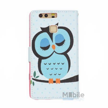 Huawei P9 Leder Etui Eule Owl Tasche Hülle Portemonnaie BLAU / PINK – Bild 2