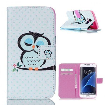 Samsung Galaxy S7 Edge Eule Leder Etui Owl Tasche Hülle Portemonnaie BLAU / PINK – Bild 1