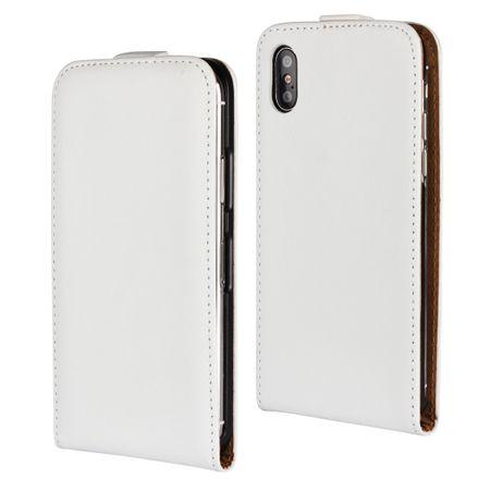 iPhone X Leder Flip Case Cover Etui Tasche Vertikal Hülle WEISS – Bild 1