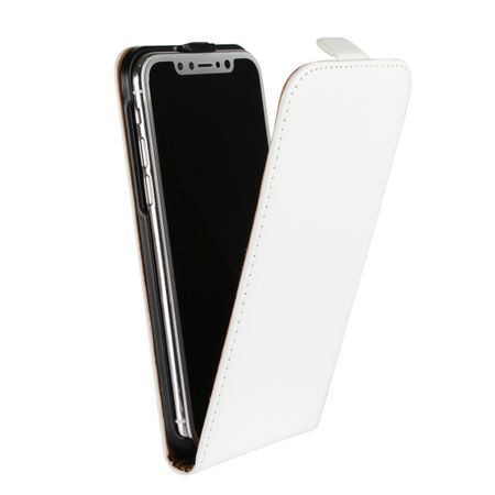 iPhone X Leder Flip Case Cover Etui Tasche Vertikal Hülle WEISS – Bild 2