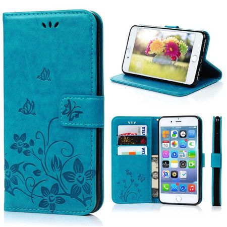 iPhone X Leder Etui Blume Schmetterling Hülle Flip Case Cover BLAU / TÜRKIS – Bild 2