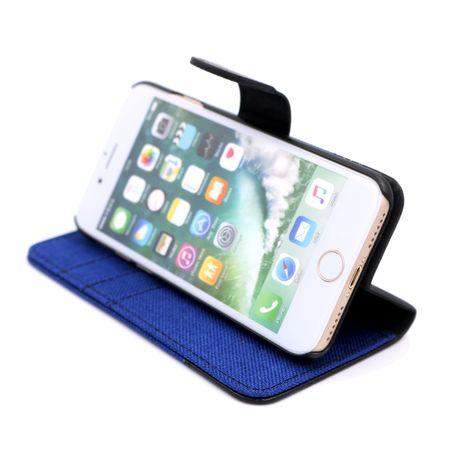 iPhone X Stoff Leder Hülle Etui Flipcase Cover Case Tasche Canvas Kartenfach BLAU – Bild 4