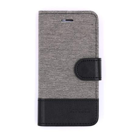 iPhone X Stoff Leder Hülle Etui Flipcase Cover Case Tasche Canvas Kartenfach GRAU – Bild 1