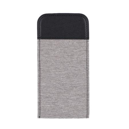 iPhone X Vertikal Stoff Leder Hülle Etui Cover Case Tasche Canvas Kartenfach GRAU – Bild 2