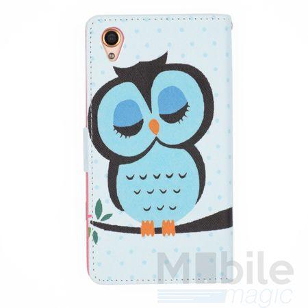 Sony Xperia X Leder Etui Eule Owl Tasche Hülle Portemonnaie BLAU / PINK – Bild 2