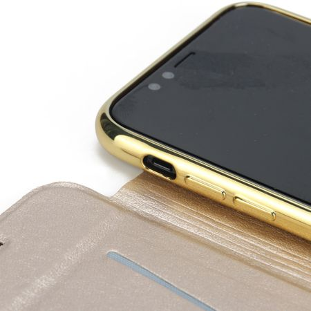 iPhone X Leder Etui Hülle Flip Case GOLD – Bild 6
