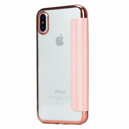 iPhone X Leder Etui Hülle Flip Case ROSÉGOLD / PINK – Bild 2