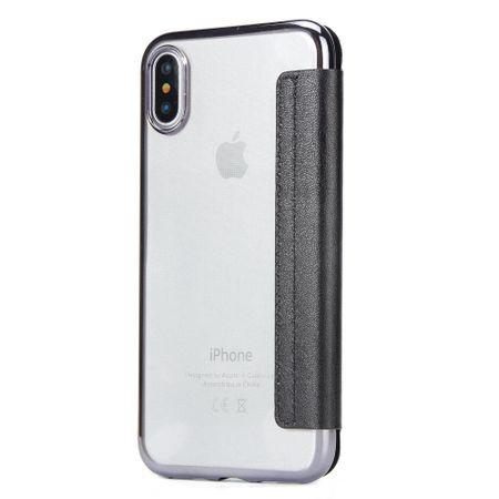 iPhone X Leder Etui Hülle Flip Case SCHWARZ – Bild 2