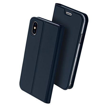 iPhone X DUX DUCIS Etui Leder Case Hülle mit Kartenfach BLAU – Bild 2