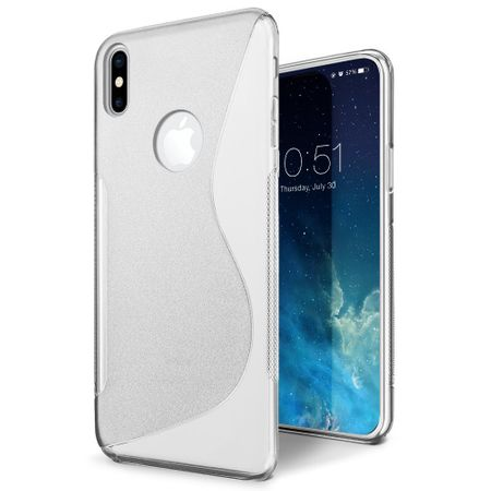 iPhone X S-Line TPU Gummi Silikon Case Welle Hülle TRANSPARENT – Bild 1