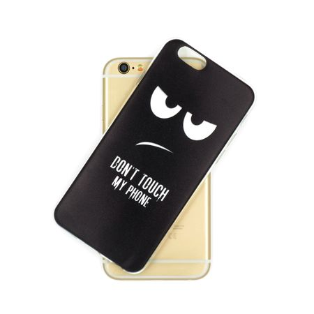 iPhone X DON'T TOUCH MY PHONE Gummi TPU Hülle Silikon Case Cover SCHWARZ – Bild 3