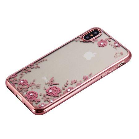 iPhone X Glitzer Blumen Hülle TPU Silikon Case PINK Roségold – Bild 2