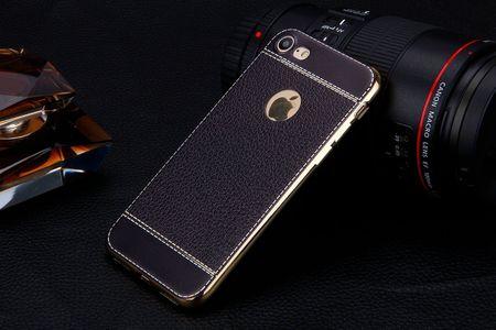 iPhone X TPU Hülle mit 3D Leder-Optik Design Metallic Gummi Silikon Case Schutzhülle Cover SCHWARZ – Bild 3