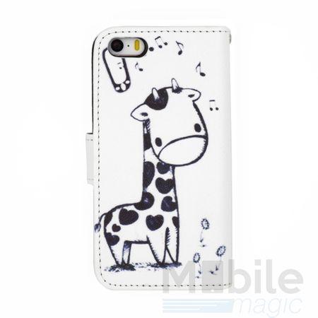 iPhone SE / 5S / 5 Giraffe Leder Etui Tasche Hülle Portemonnaie WEISS – Bild 2