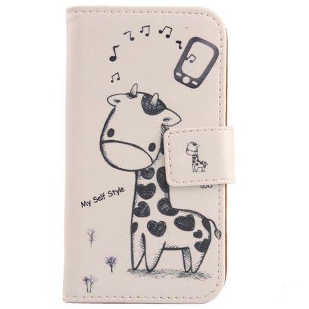 Samsung Galaxy J5 2015 Giraffe Leder Etui Tasche Hülle Portemonnaie WEISS