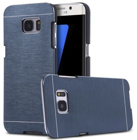 Samsung Galaxy S7 Edge Brushed Aluminium Metall Look Hard Case BLAU – Bild 1
