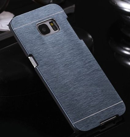 Samsung Galaxy S7 Edge Brushed Aluminium Metall Look Hard Case BLAU – Bild 3
