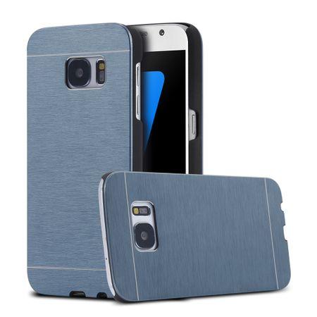 Samsung Galaxy S6 Edge Brushed Aluminium Metall Look Hard Case BLAU – Bild 1