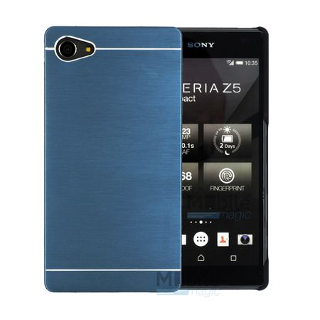 Sony Xperia Z5 Compact Brushed Aluminium Metall Look Hard Case BLAU