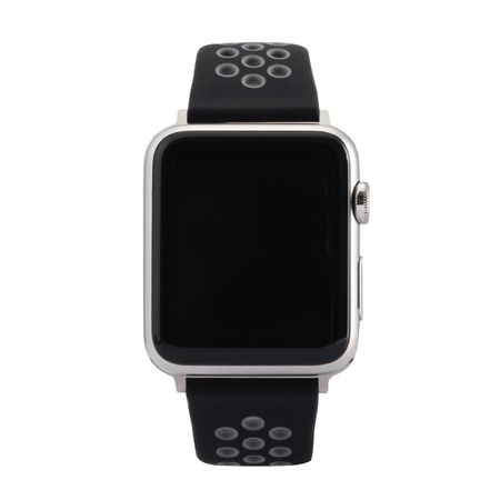 Apple Watch 42mm Series 1 / 2 / 3 M / L Silikon Sport Armband Strap Soft SCHWARZ GRAU – Bild 5
