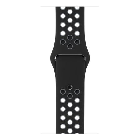 Apple Watch 42mm Series 1 / 2 / 3 M / L Silikon Sport Armband Strap Soft SCHWARZ GRAU – Bild 6