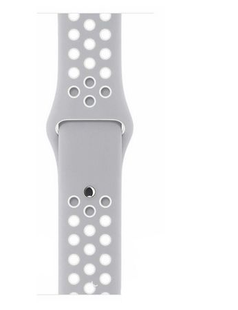 Apple Watch 42mm Series 1 / 2 / 3 M / L Silikon Sport Armband Strap Soft GRAU WEISS – Bild 8