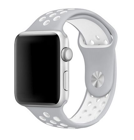Apple Watch 42mm Series 1 / 2 / 3 M / L Silikon Sport Armband Strap Soft GRAU WEISS – Bild 1