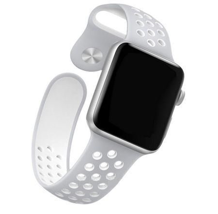 Apple Watch 42mm Series 1 / 2 / 3 M / L Silikon Sport Armband Strap Soft GRAU WEISS – Bild 3